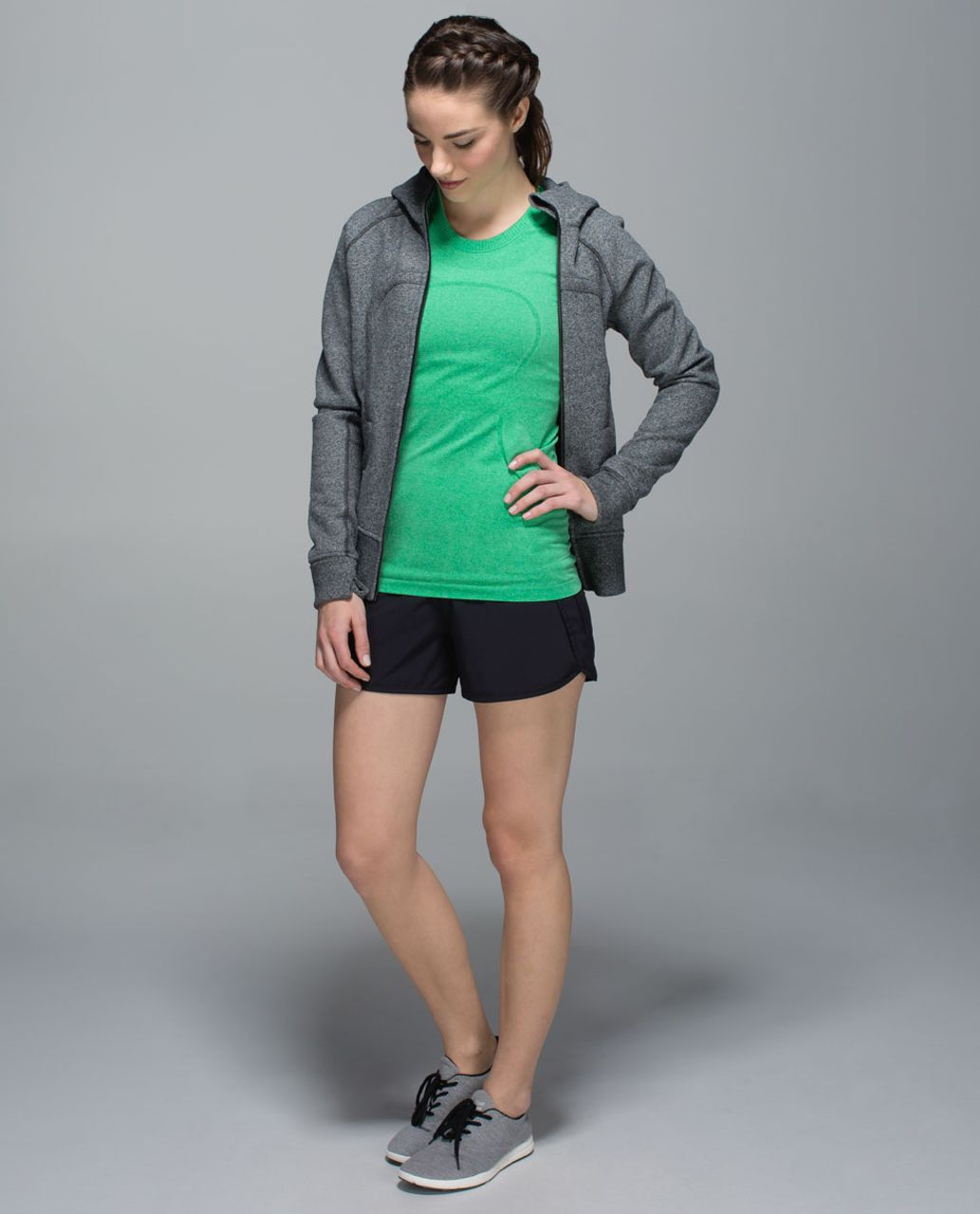 Lululemon Run:  Swiftly Tech Short Sleeve Crew - Heathered Gully Green