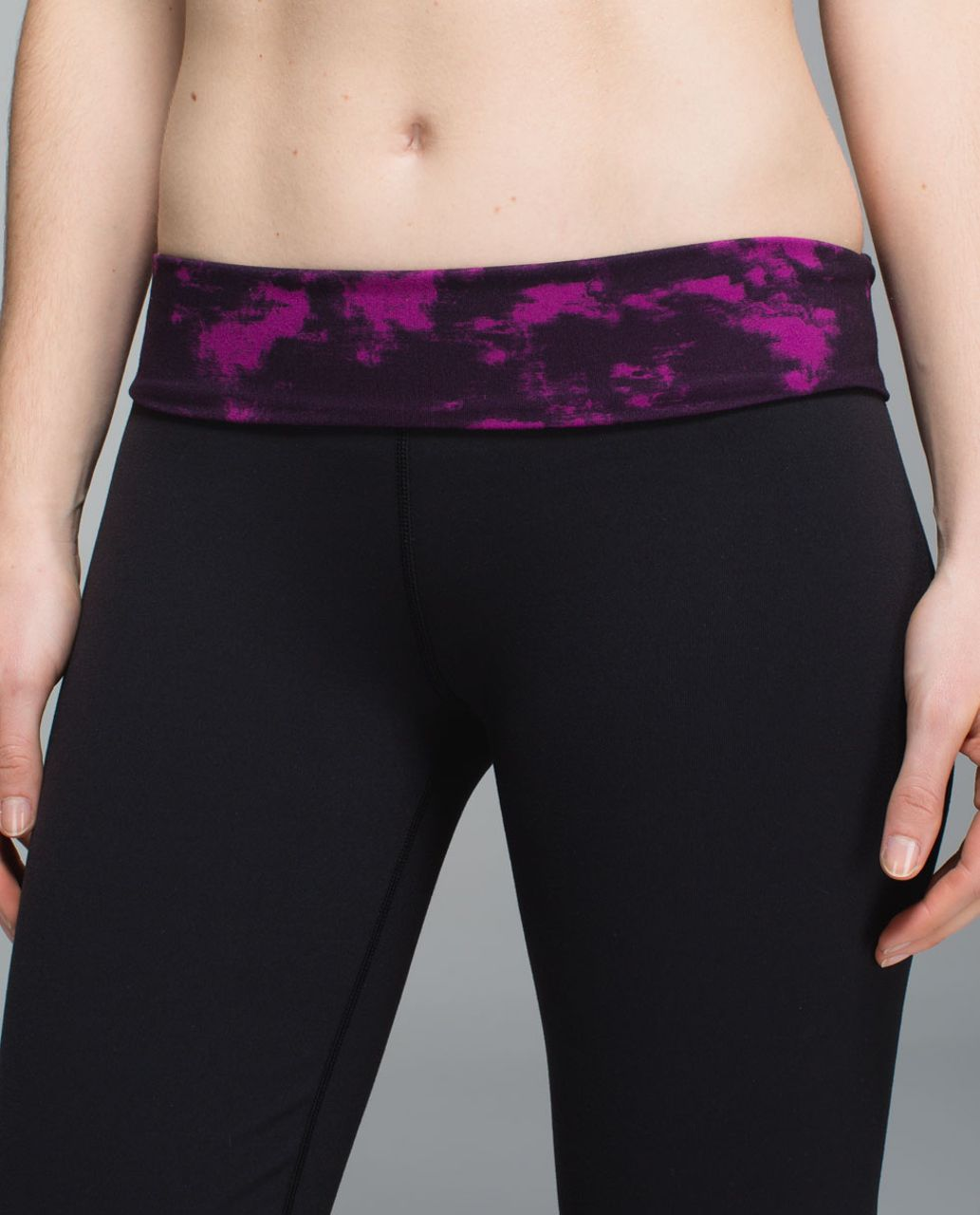 Lululemon Groove Pant II *Full-On Luon (Roll Down - Regular) - Black / Breezie Regal Plum Black