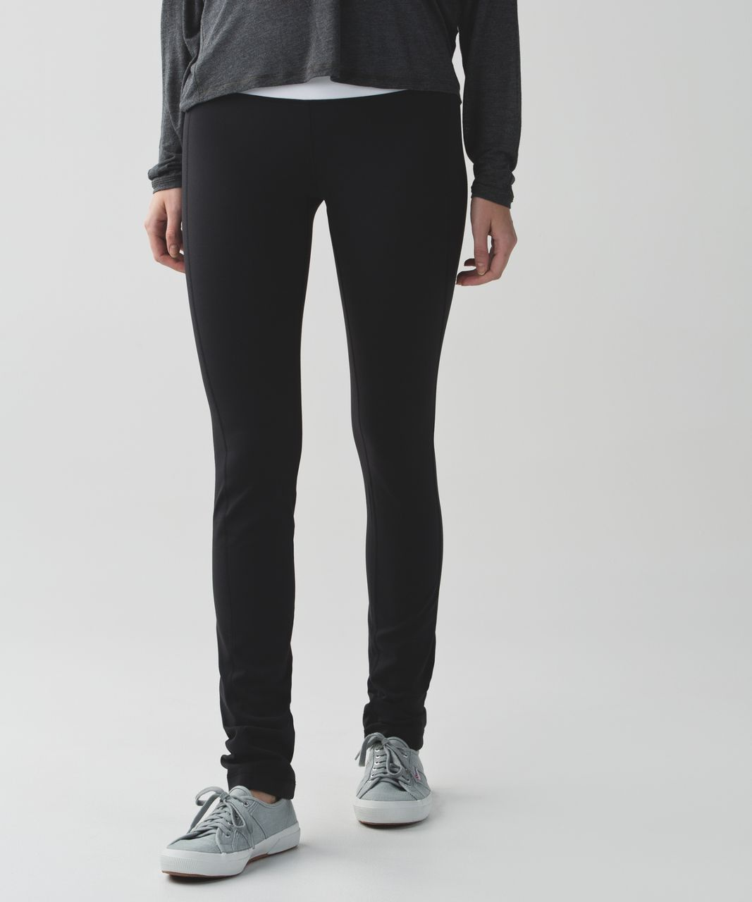 653551335 Lululemon Skinny Groove Pant II  Full-On Luon (Roll Down) - Black   White -  lulu fanatics