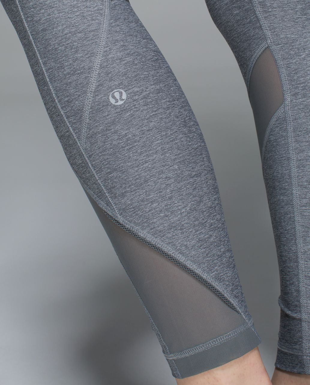 Lululemon Inspire Tight II (Mesh) - Heathered Slate / Quiet Stripe Butter Pink Electric Coral / Electric Coral