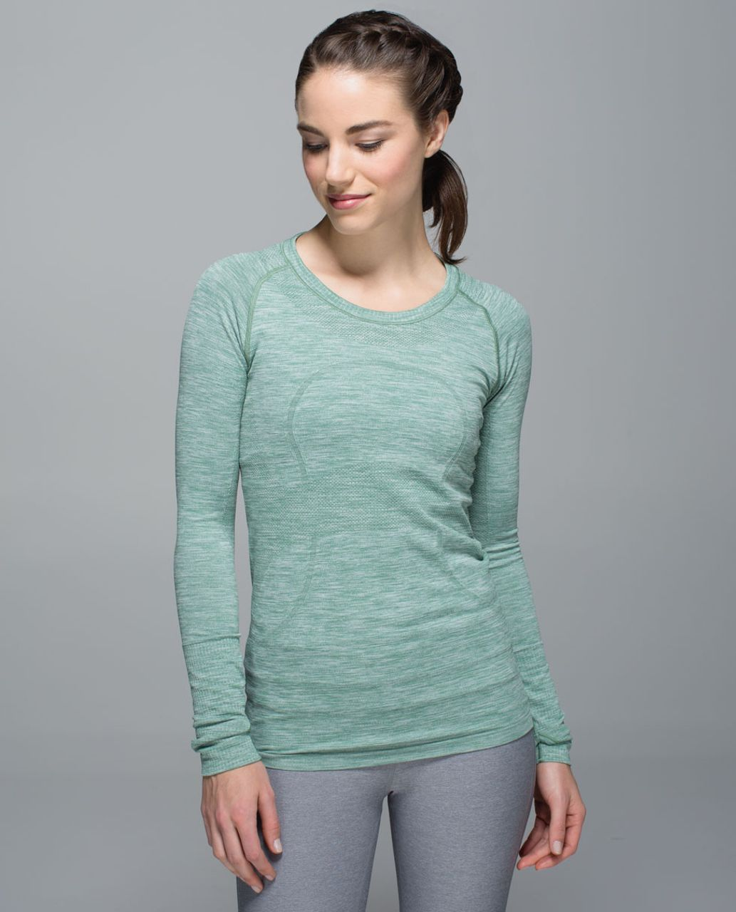 Lululemon Run:  Swiftly Tech Long Sleeve Crew - Space Dye Heathered Vintage Green