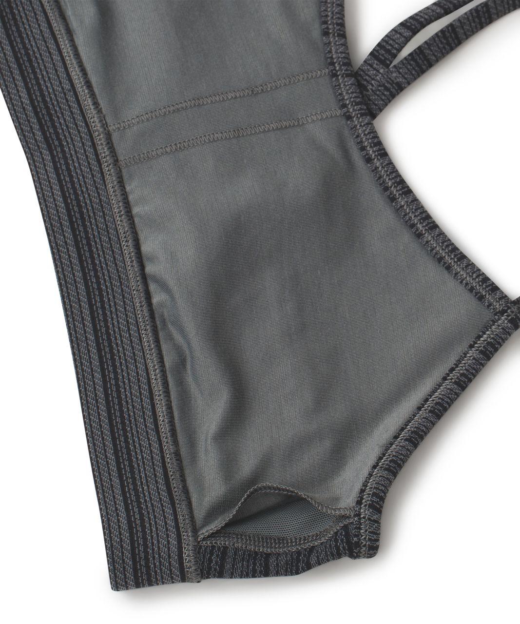 Lululemon Flow Y Bra IV - Textured Stripe Slate Deep Coal
