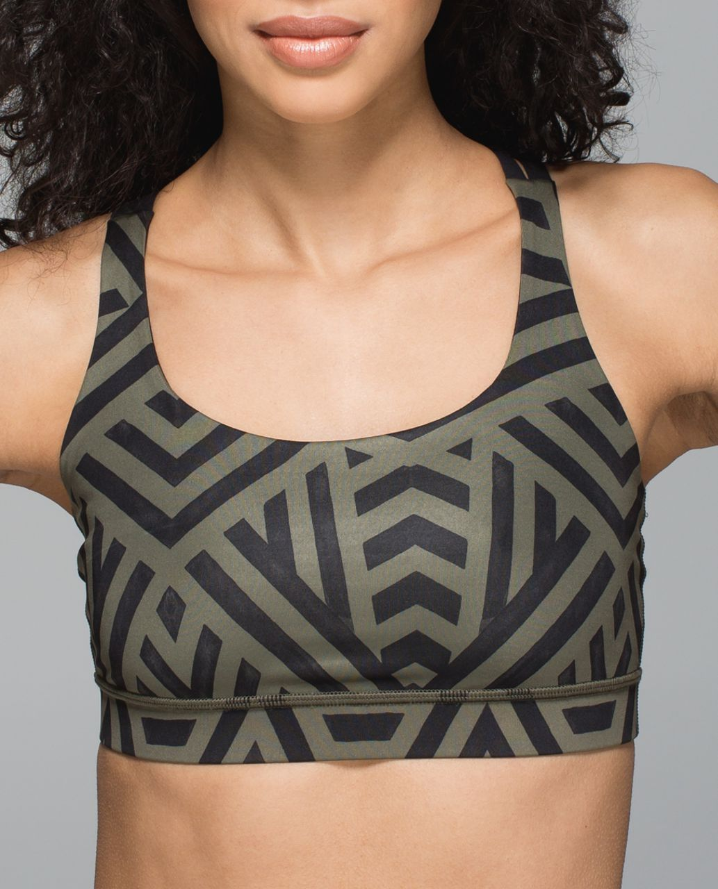 Lululemon Energy Bra - Chevron Shuffle Fatigue Green Black