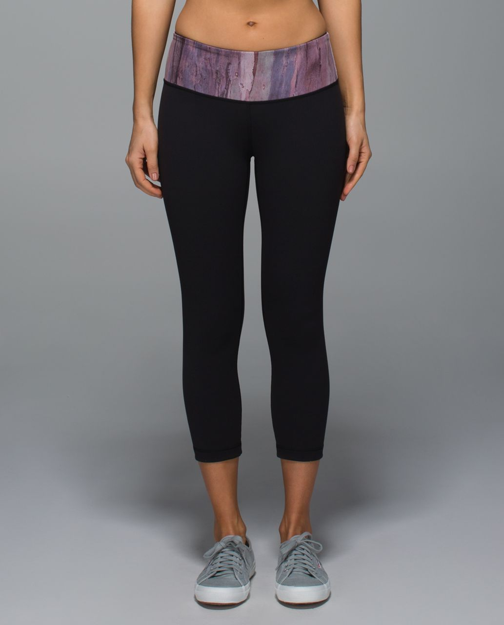 Lululemon Wunder Under Crop II *Full-On Luon - Black / Mini Hazy Horizon Storm Mauve