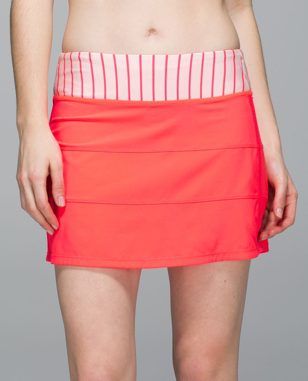 Lululemon Pace Rival Skirt II *4-way Stretch (Tall) - Electric Coral / Quiet Stripe Butter Pink Electric Coral