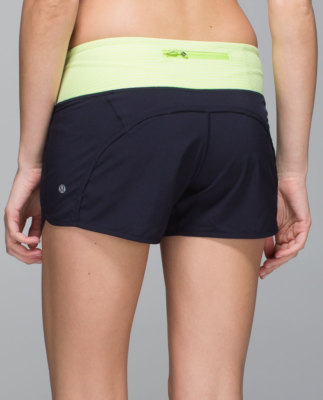 Lululemon Run Times Short *4-way Stretch - Naval Blue / Hyper Stripe Clear Mint Zest