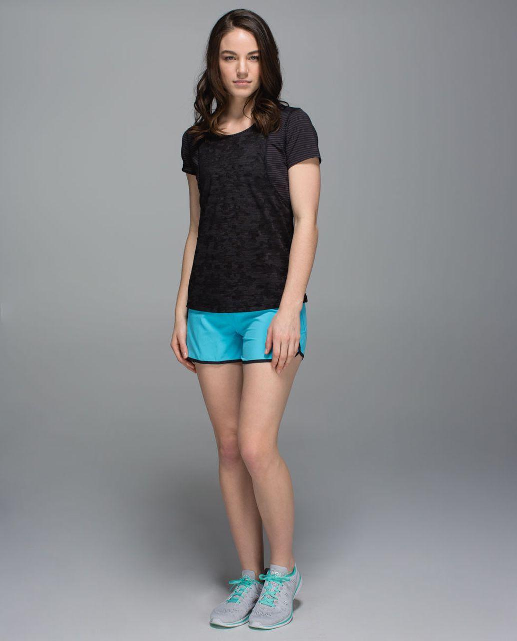 """Lululemon Run Times Short *4-way Stretch 4"""" - Fresco Blue / Mini Brushed Animal Black White / Black"""