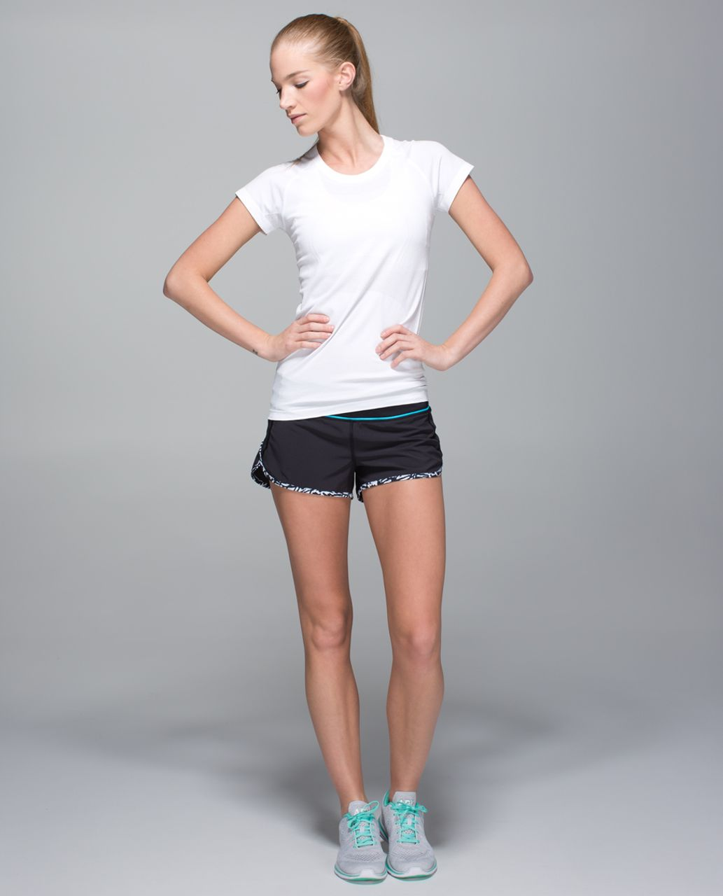 Lululemon Run:  Speed Short *4-way Stretch - Black / Black / Brushed Animal White Black
