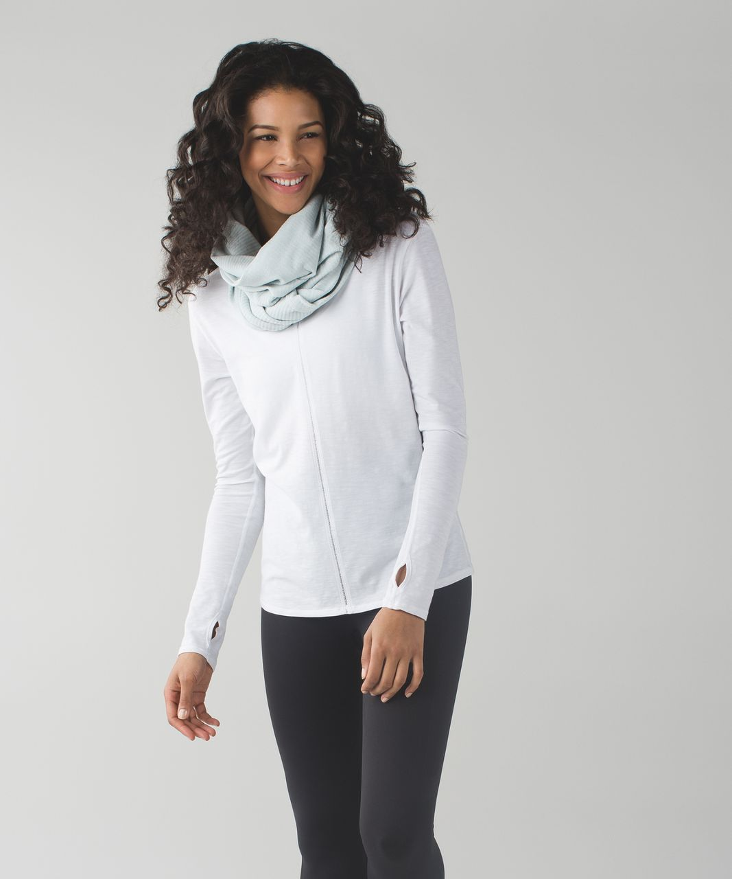 Lululemon Vinyasa Scarf *Rulu - Mini Check Pique White Heathered Minty Grey
