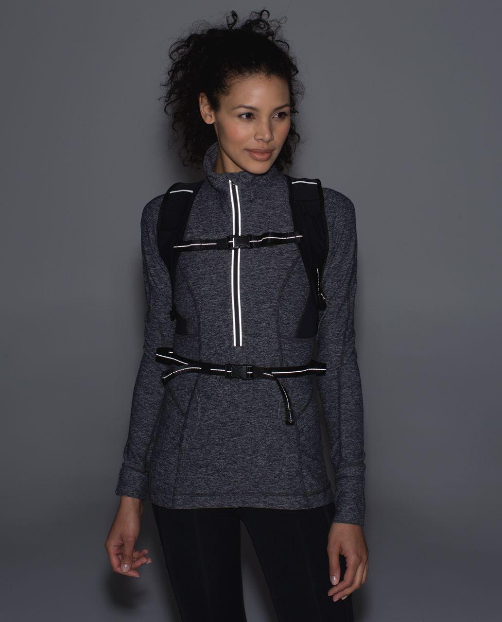 Lululemon Run All Day Backpack - Oversized Buffalo Check Almost Blue Black / Black