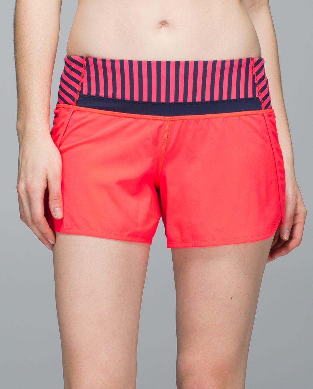 "Lululemon Run Times Short *4-way Stretch 4"" - Electric Coral / Narrow Bold Stripe Electric Coral Deep Navy / Deep Navy"