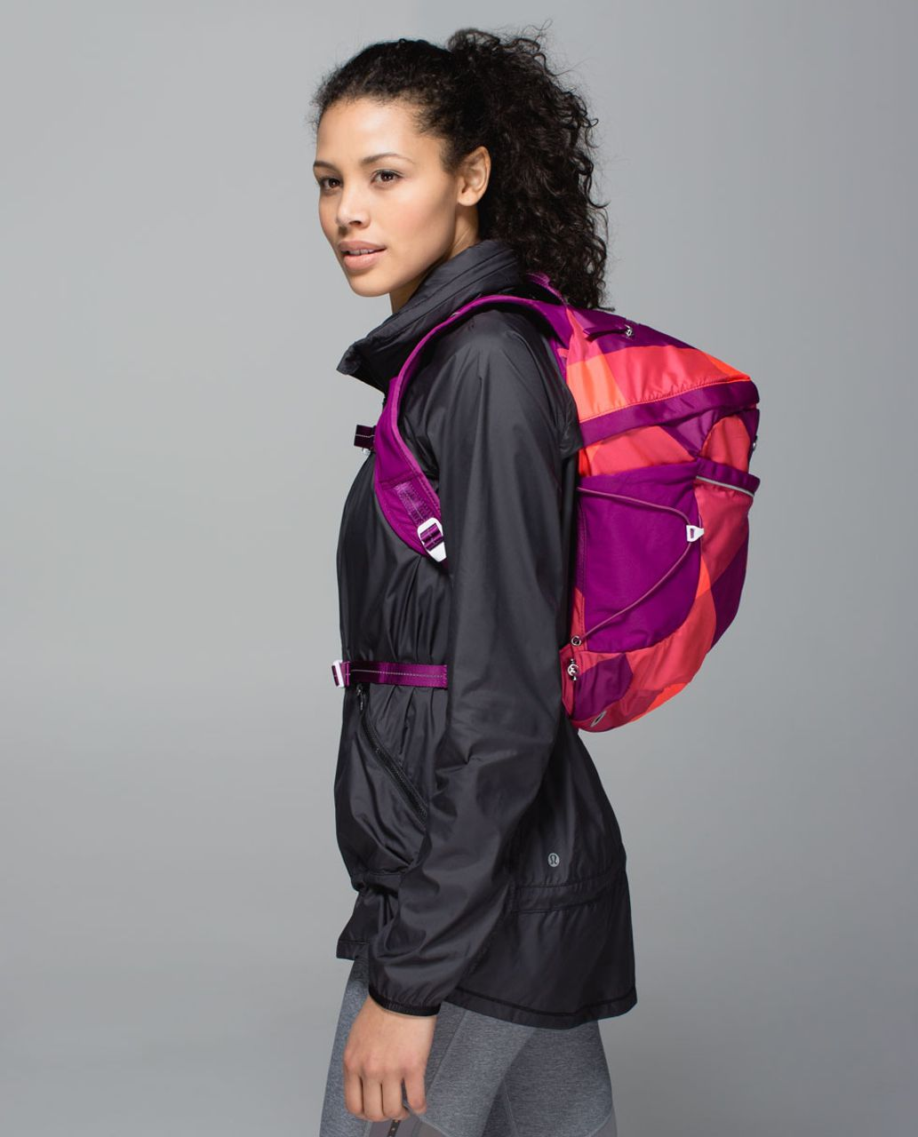 Lululemon Run All Day Backpack - Oversized Buffalo Check Electric Coral Regal Plum / Regal Plum