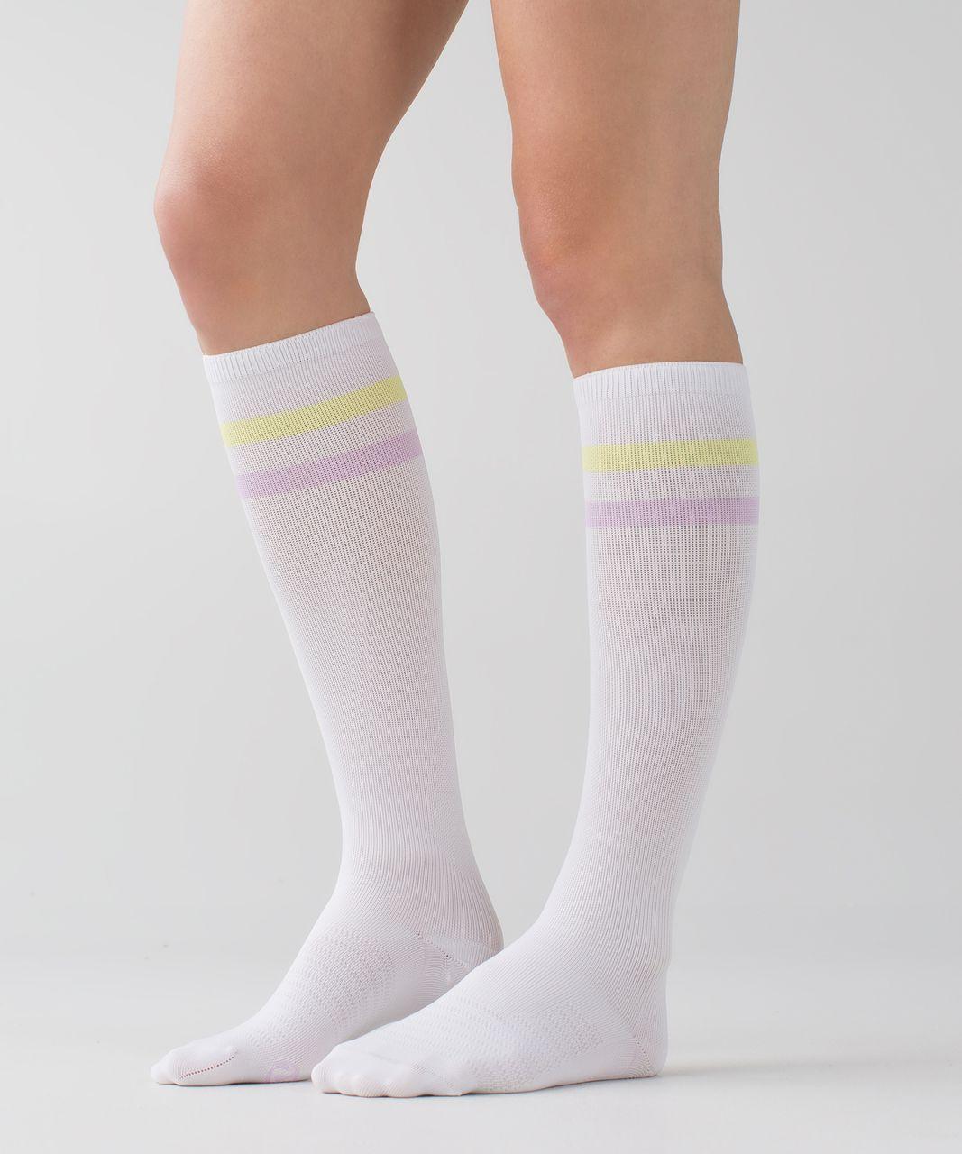 Lululemon Women's Keep It Tight Sock - Varsity Stripe White Clarity Yellow Pretty Purple