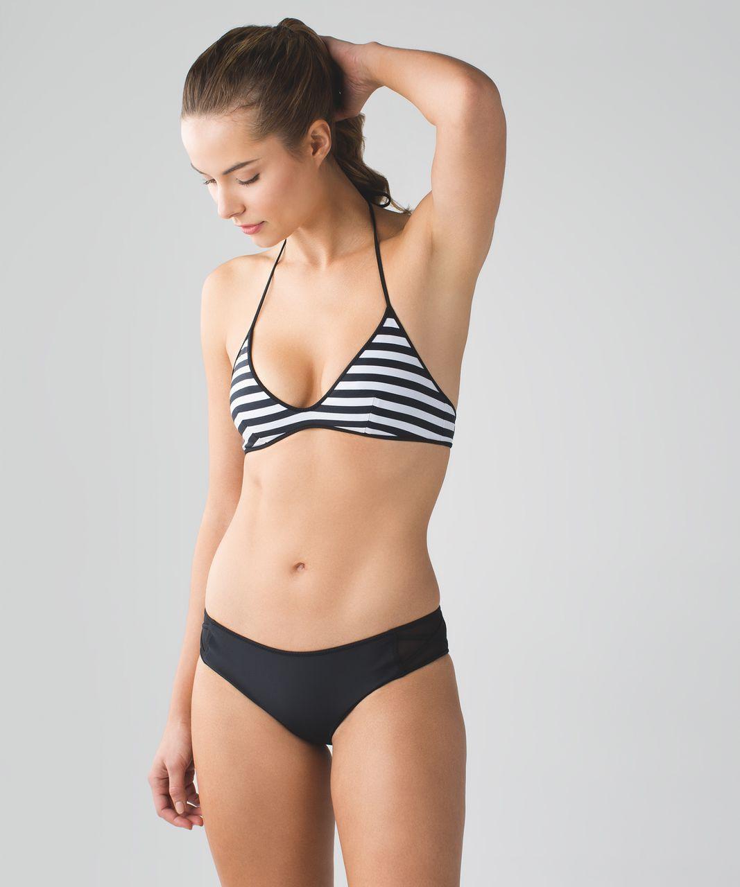 Lululemon Water:  Surf To Sand Tie Top - Black / Narrow Bold Stripe Printed White Black