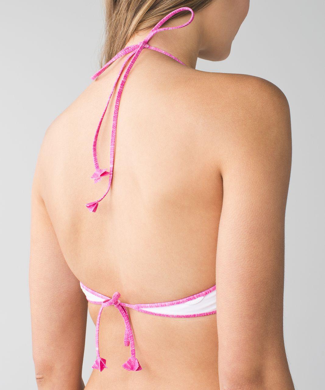 Lululemon Water:  Surf To Sand Tie Top - Mini Oki Heathered Print White Pow Pink Light / White