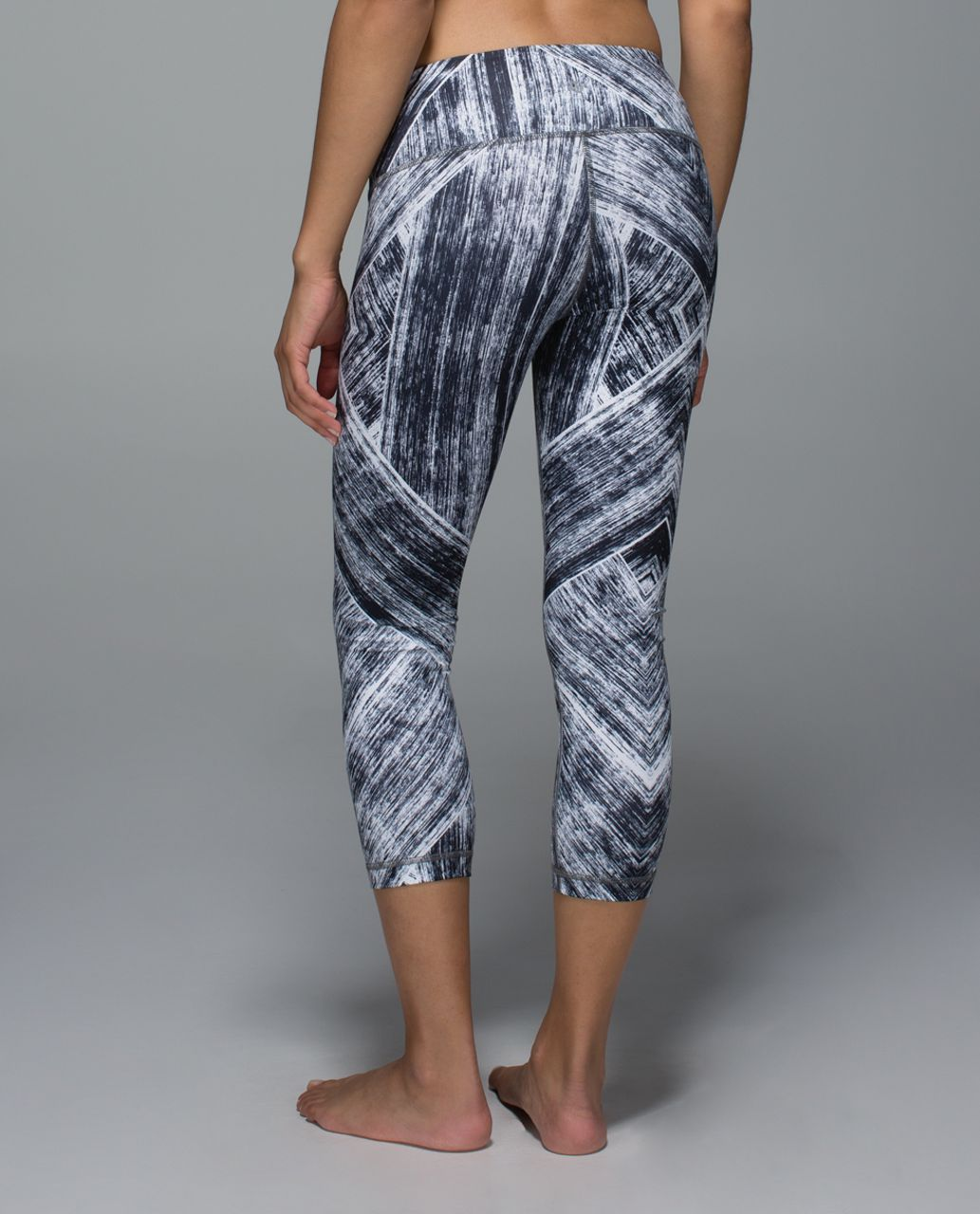 Lululemon Wunder Under Crop II *Full-On Luon - Heat Wave White Black