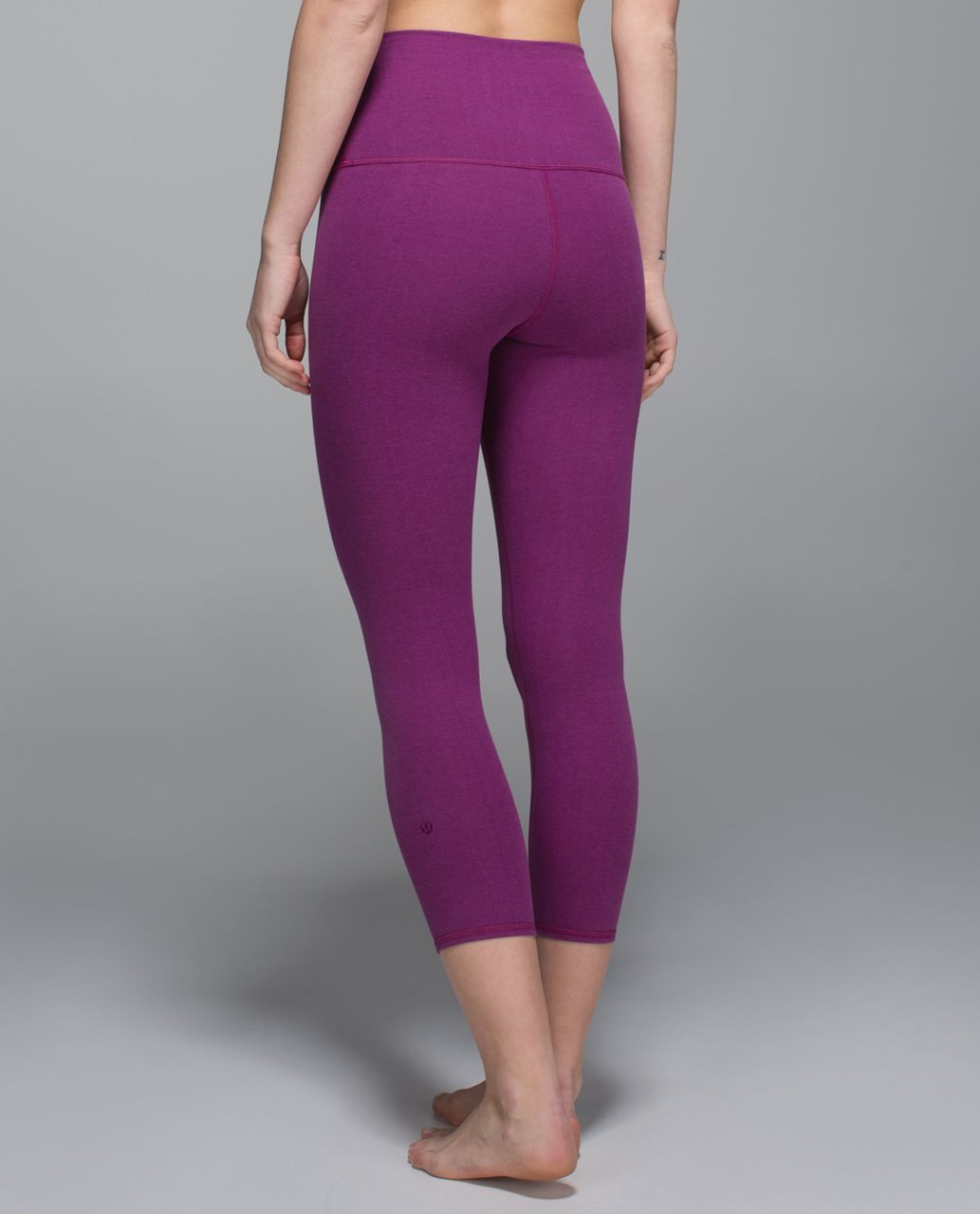 Lululemon Wunder Under Crop II *Cotton (Roll Down) - Heathered Regal Plum