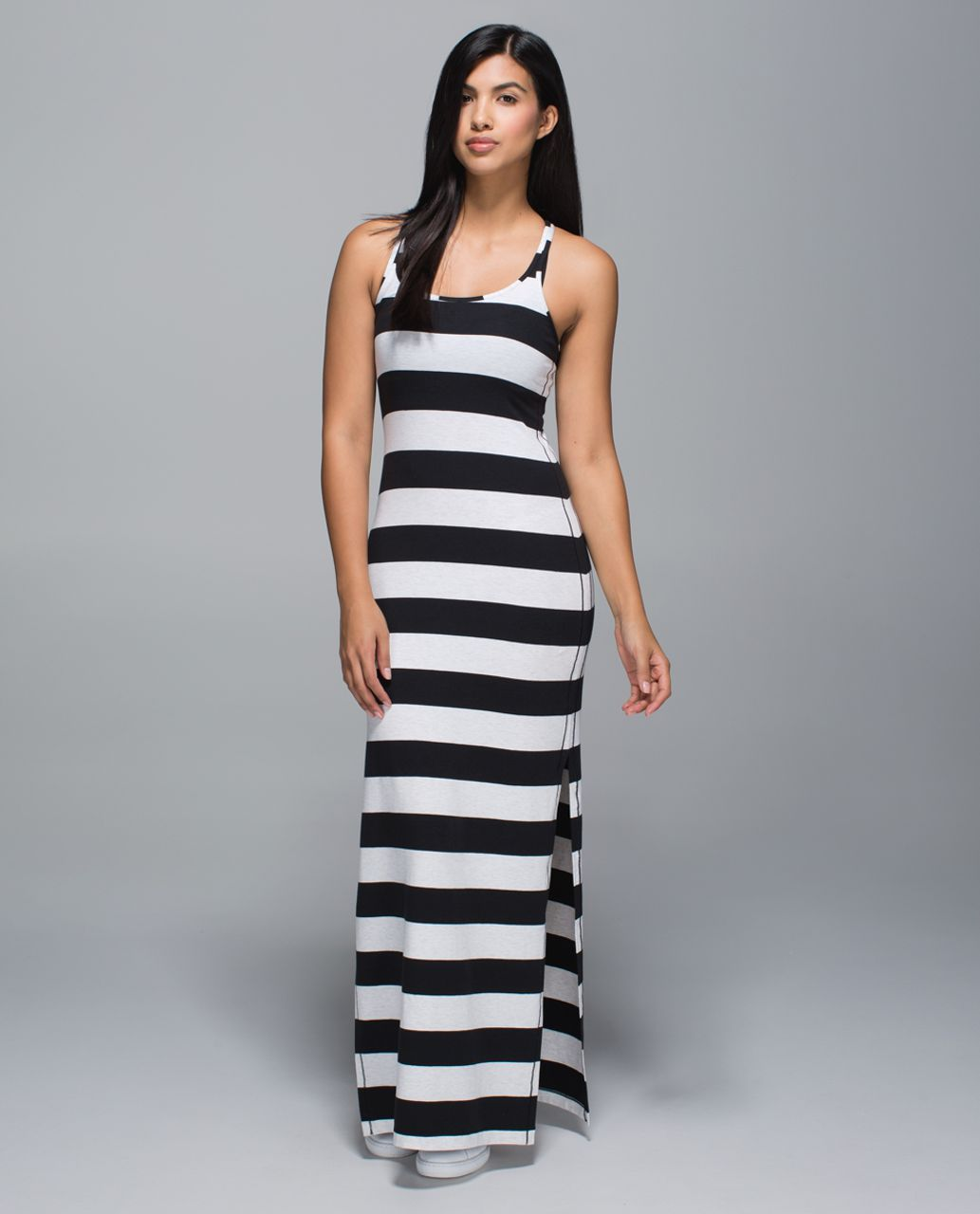 Lululemon Refresh Maxi Dress - Black / White - lulu fanatics