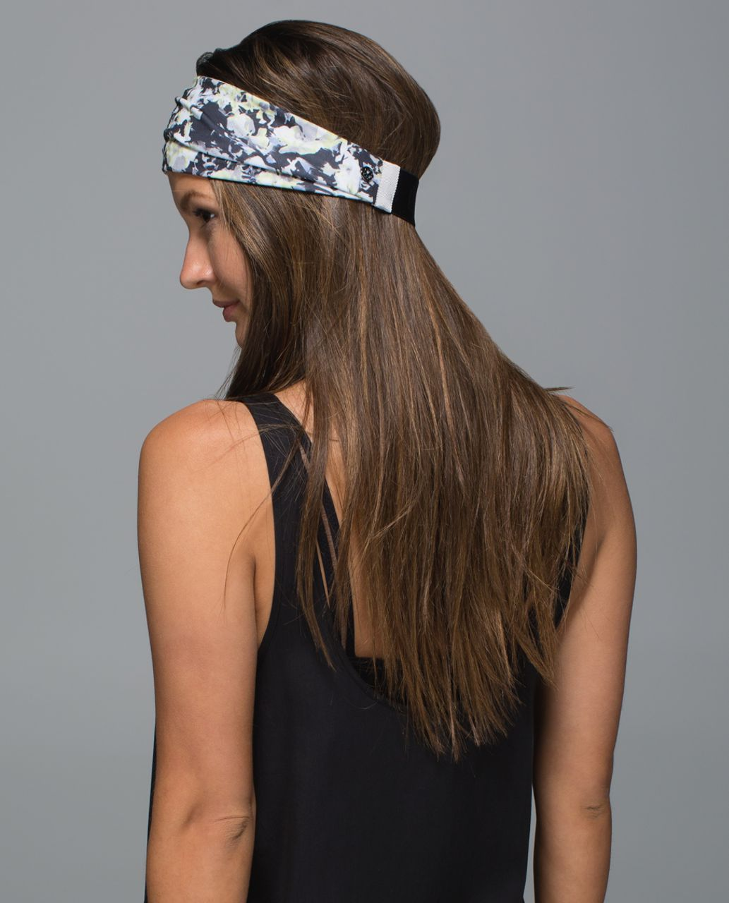 Lululemon Fringe Fighter Headband - Crosscourt Petal Black Clarity Yellow / White