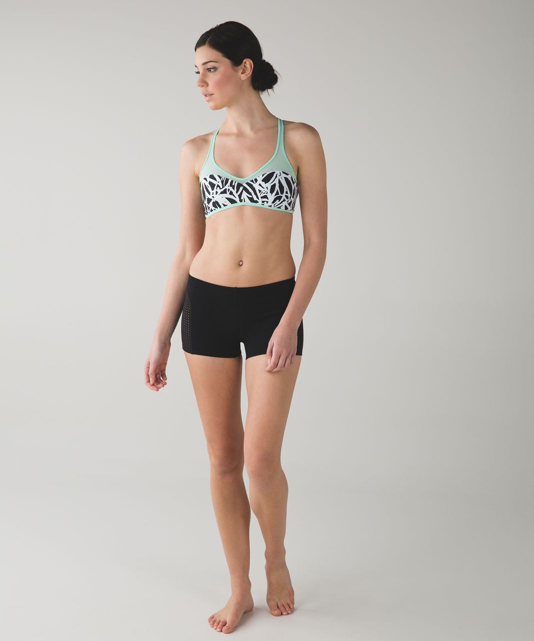 Lululemon Water:  Salty Swim Sport Top - Toothpaste / Sketch Palm White Black