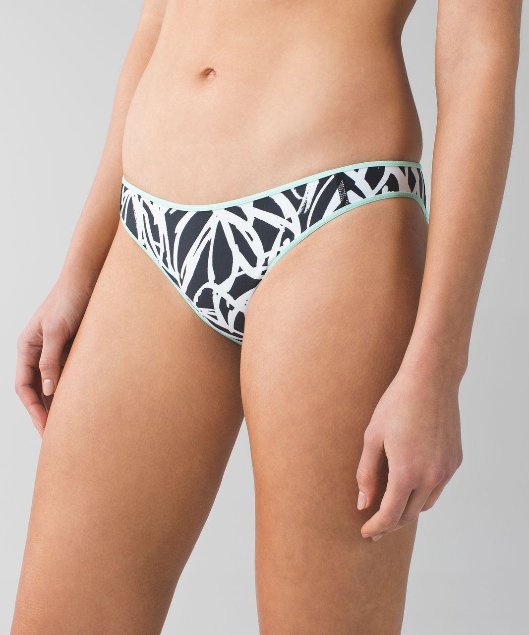 Lululemon Water:  Surf To Sand Bikini Bottom - Toothpaste / Sketch Palm White Black