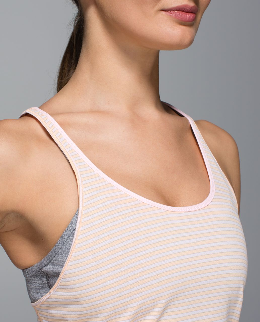 Lululemon What The Sport Singlet - Silver Stripe Peach Fuzz Blush Quartz