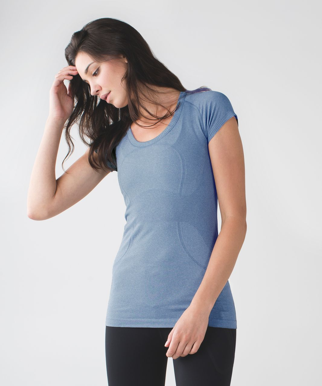 Lululemon Swiftly Tech Short Sleeve Scoop - Heathered Blue Denim