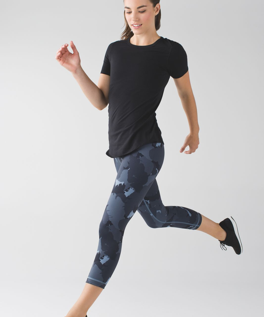 Lululemon Wunder Under Crop II *Full-On Luon - Palm Party Blue Denim Black