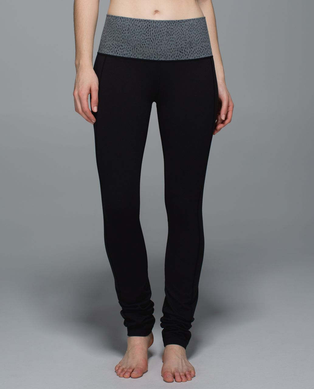 286756b0f Lululemon Skinny Groove Pant II  Full-On Luon (Roll Down) - Black   Dottie  Dash Slate Black - lulu fanatics