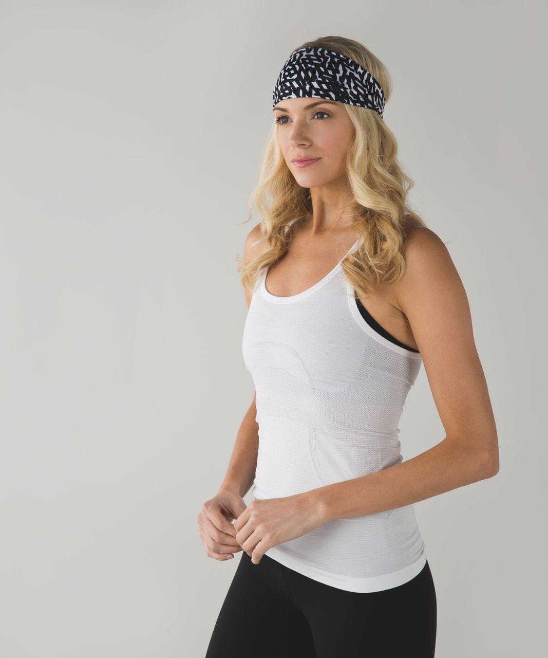 Lululemon Fringe Fighter Headband - Net Pop White Black / White