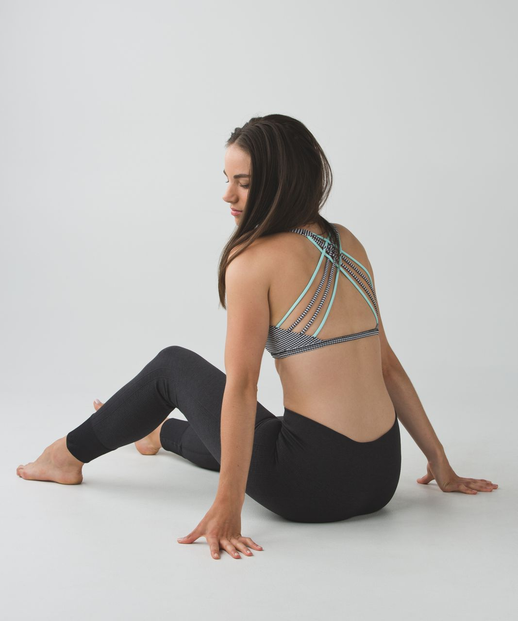 Lululemon Free To Be *Wild - Gingham Luon White Black / Tranquil Blue