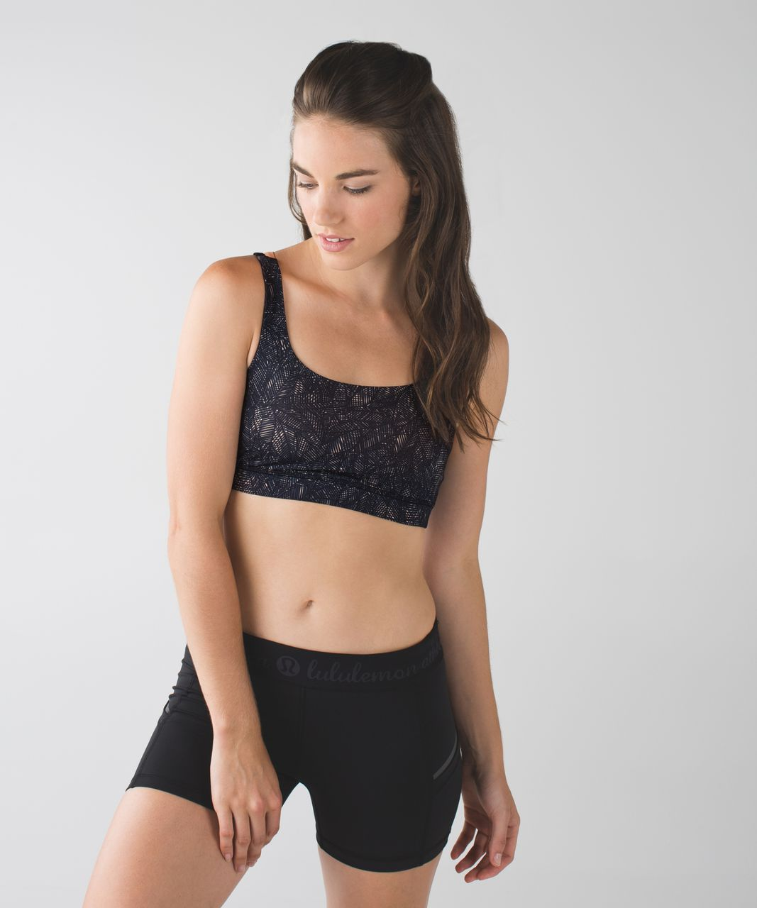Lululemon Energy Bra - Jazzy Peach Fuzz Naval Blue / Black / Peach Fuzz