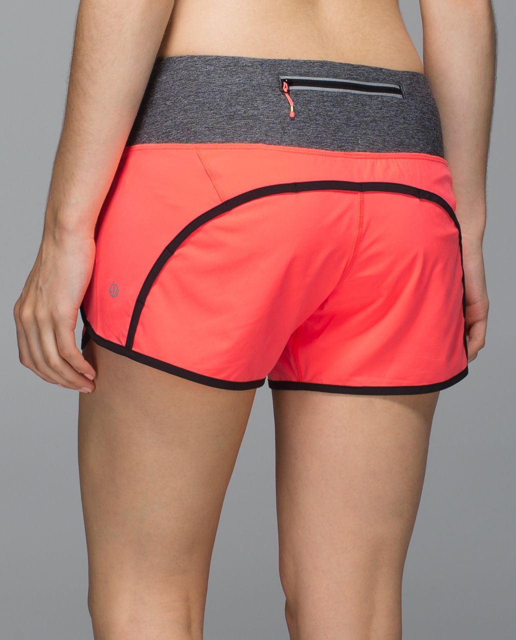 Lululemon Run Times Short *Block-It Pocket - Grapefruit / Heathered Black