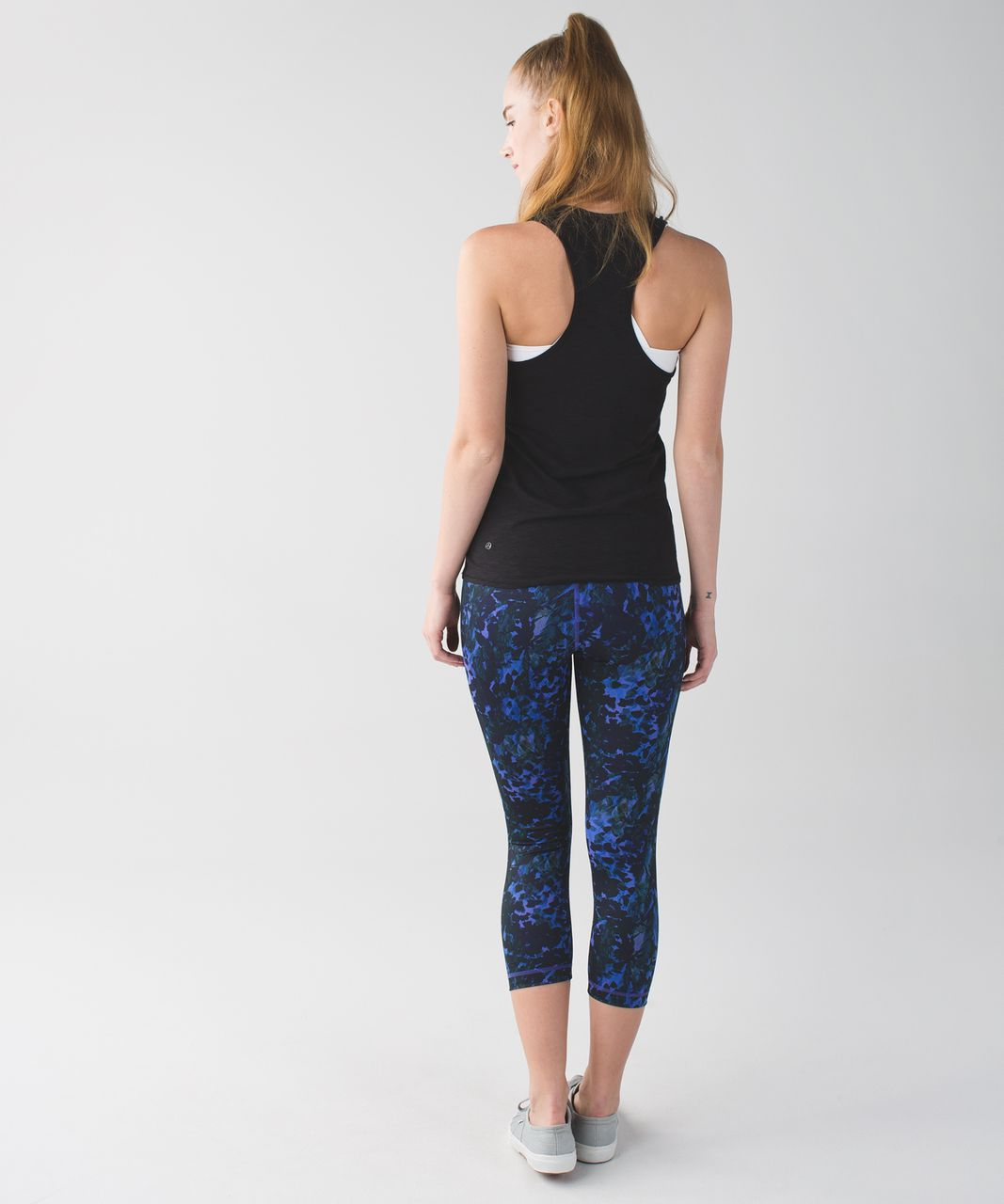 Lululemon Wunder Under Crop II *Full-On Luon - Floral Sport Backdrop Iris Flower Multi