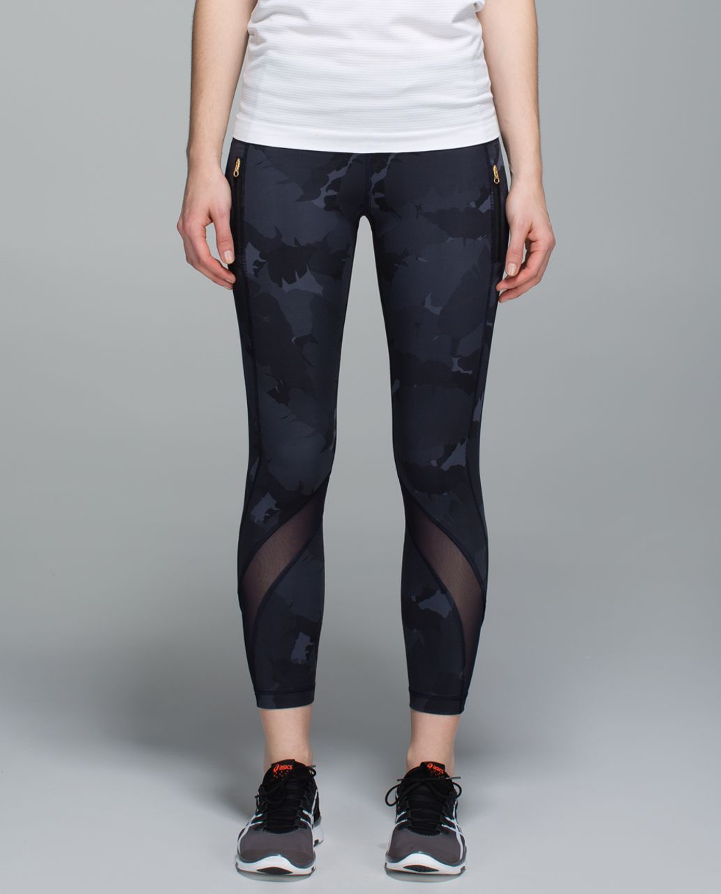 Lululemon Inspire Tight II *Full-On Luxtreme (Mesh) - Palm Party Naval Blue Black / Naval Blue