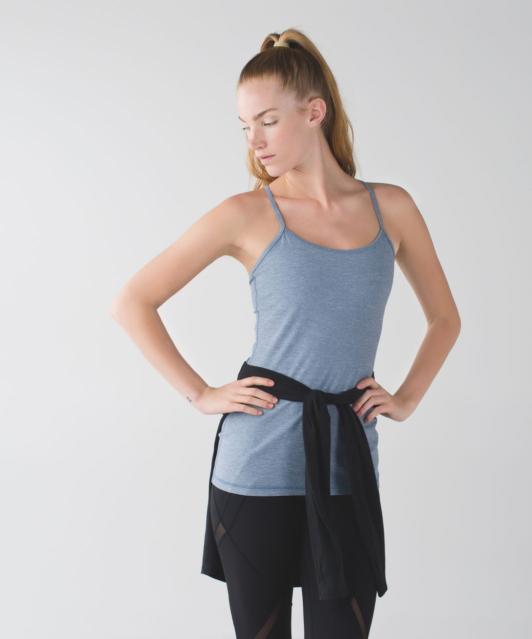 Lululemon Power Y Tank *Luon - Heathered Blue Denim