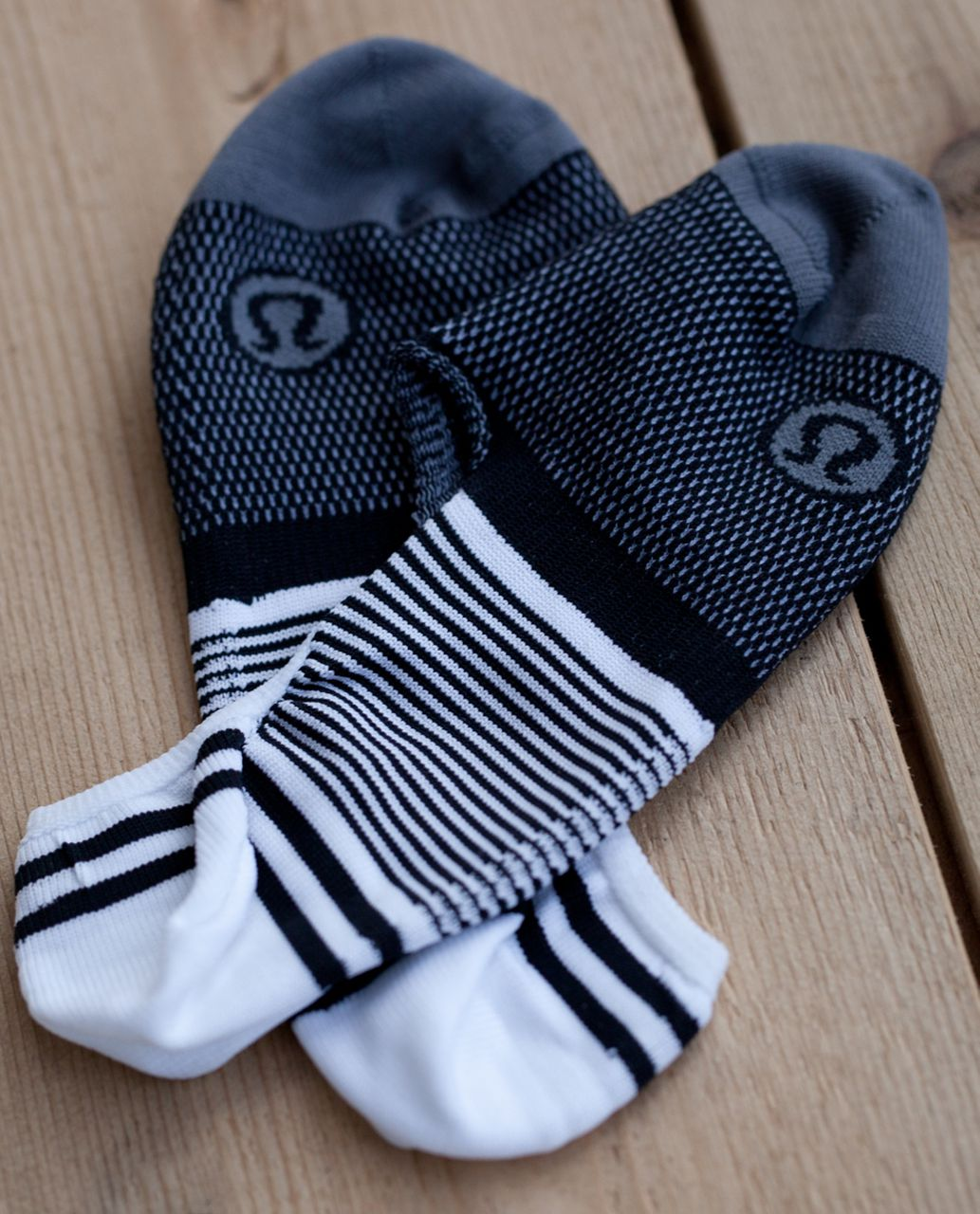 Lululemon Secret Sock - Candy Stripe Black White Slate