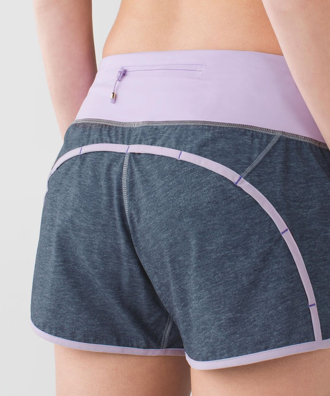 "Lululemon Run Times Short *4-way Stretch 4"" - Heathered Texture Printed Greyt Deep Coal / Pretty Purple"