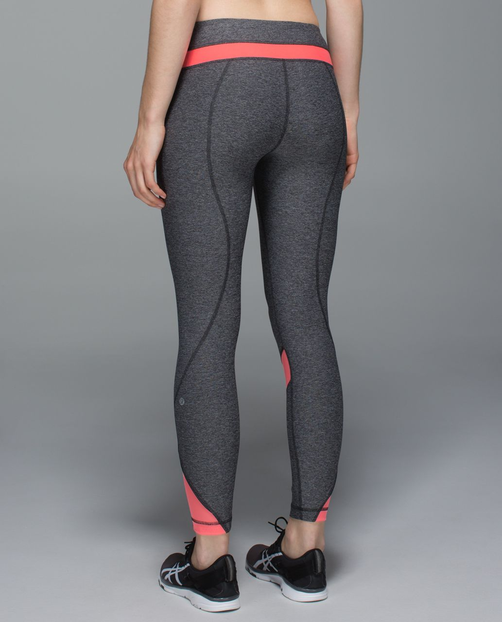 40aa973922 Lululemon Inspire Tight II (Mesh) - Heathered Black / Grapefruit - lulu  fanatics