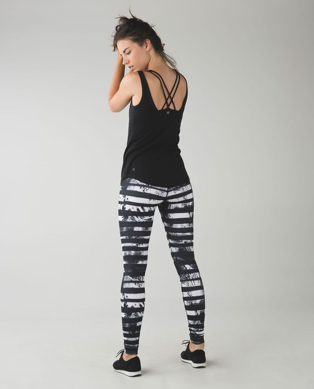 Lululemon Wunder Under Pant *Full-On Luon (Roll Down) - Shady Palms Black White