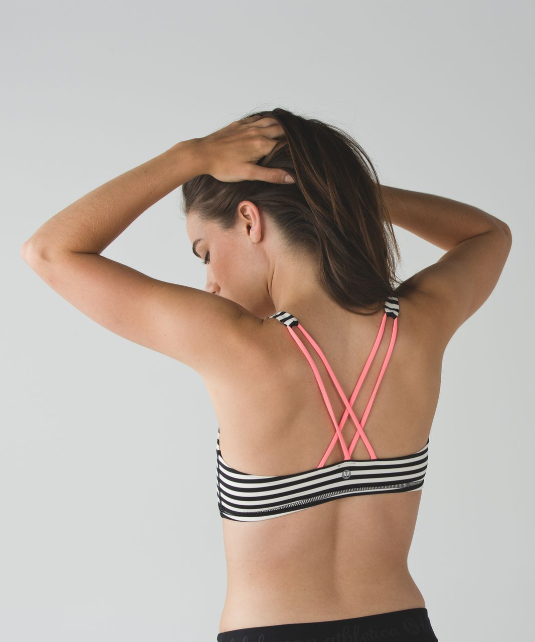 Lululemon Free To Be Bra - Narrow Bold Stripe Black Angel Wing / Grapefruit