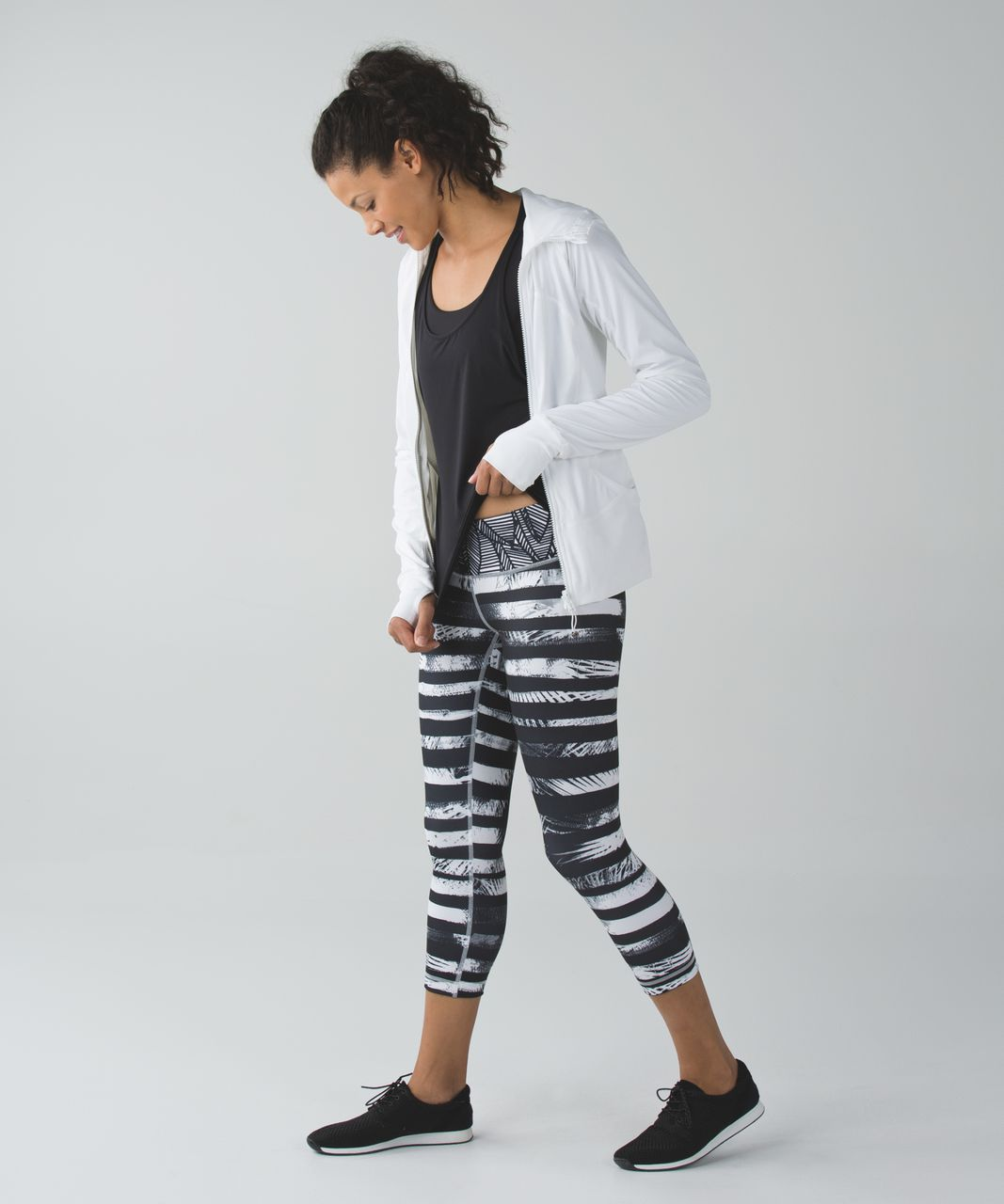 Lululemon Wunder Under Crop II *Full-On Luon - Shady Palms Black White / Banana Leaf White Black / Gingham Luon White Black
