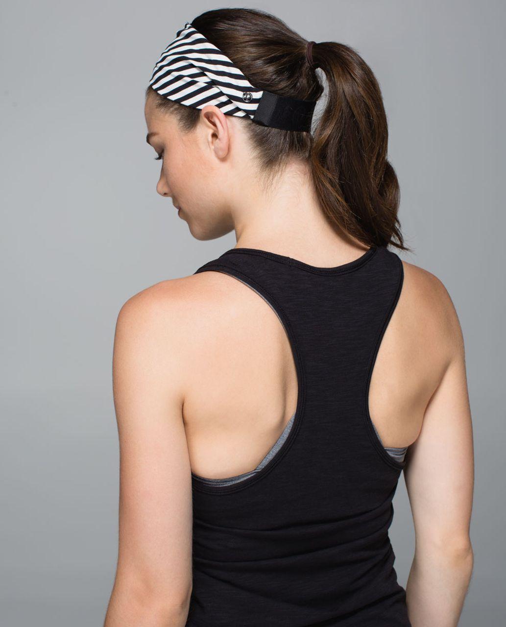 Lululemon Fringe Fighter Headband - Narrow Bold Stripe Black Angel Wing / Black