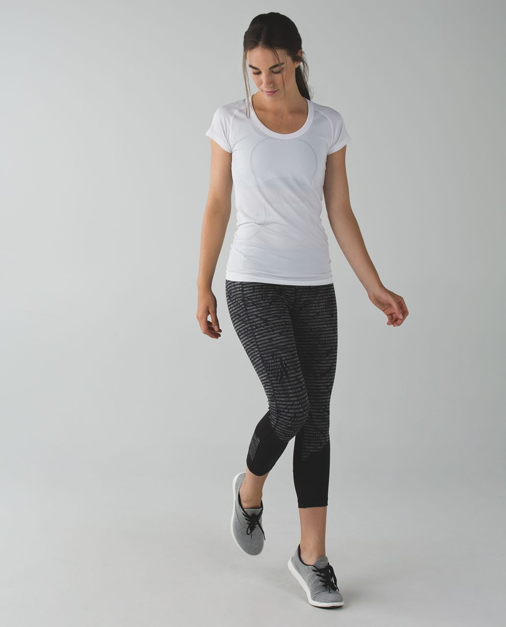 Lululemon Pace Rival Crop *Full-On Luxtreme - Stripe Play Slate Black / Black
