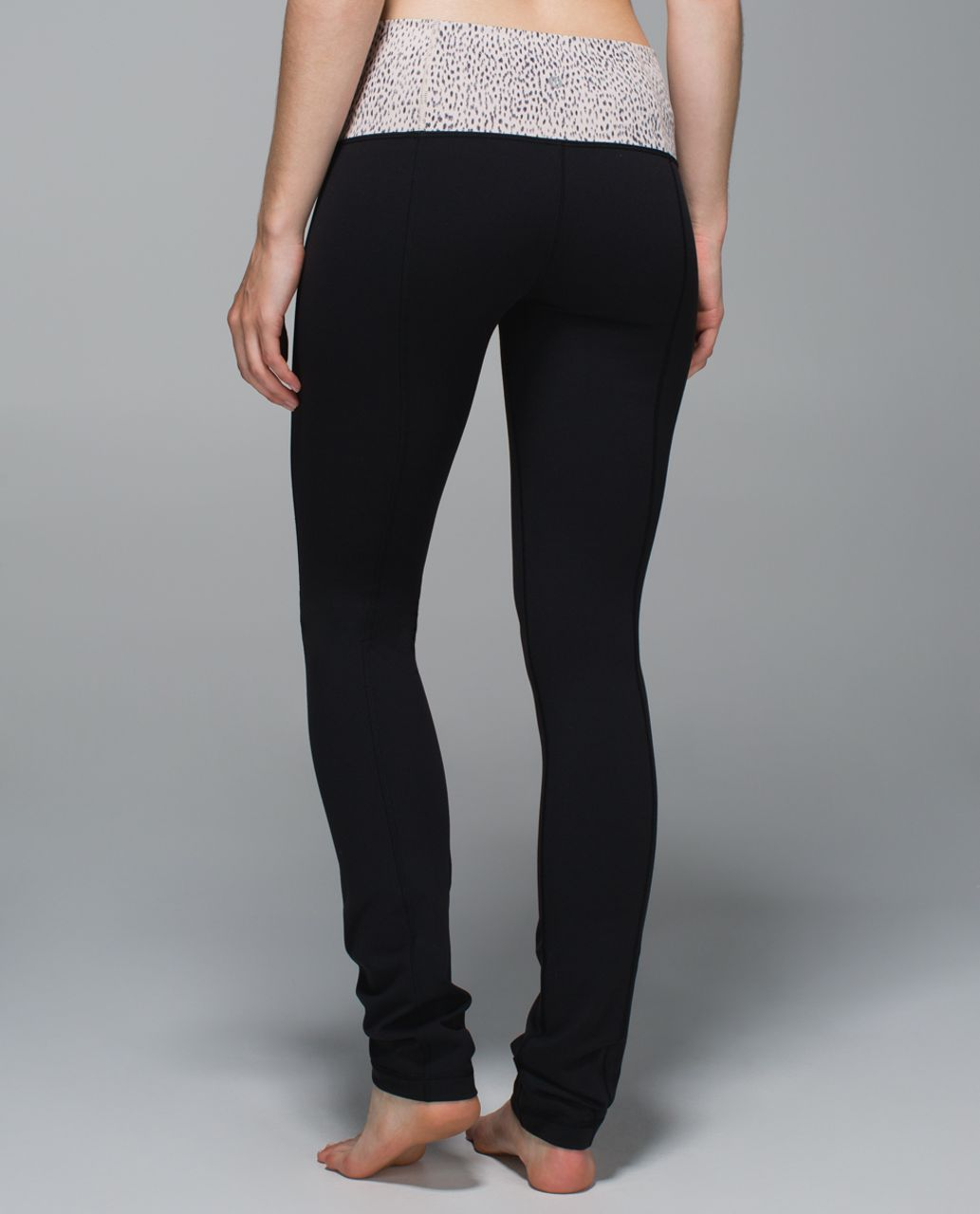 464427151 Lululemon Skinny Groove Pant II  Full-On Luon (Roll Down) - Black   Dottie  Dash Grain Black - lulu fanatics
