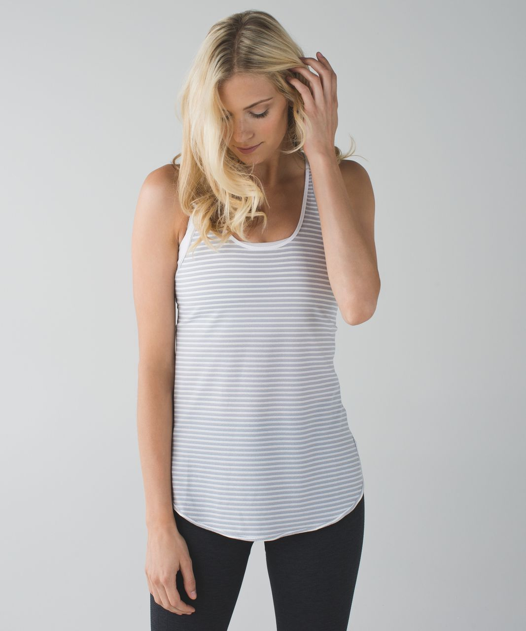 Lululemon What The Sport Singlet - Silver Stripe Silver Fox White