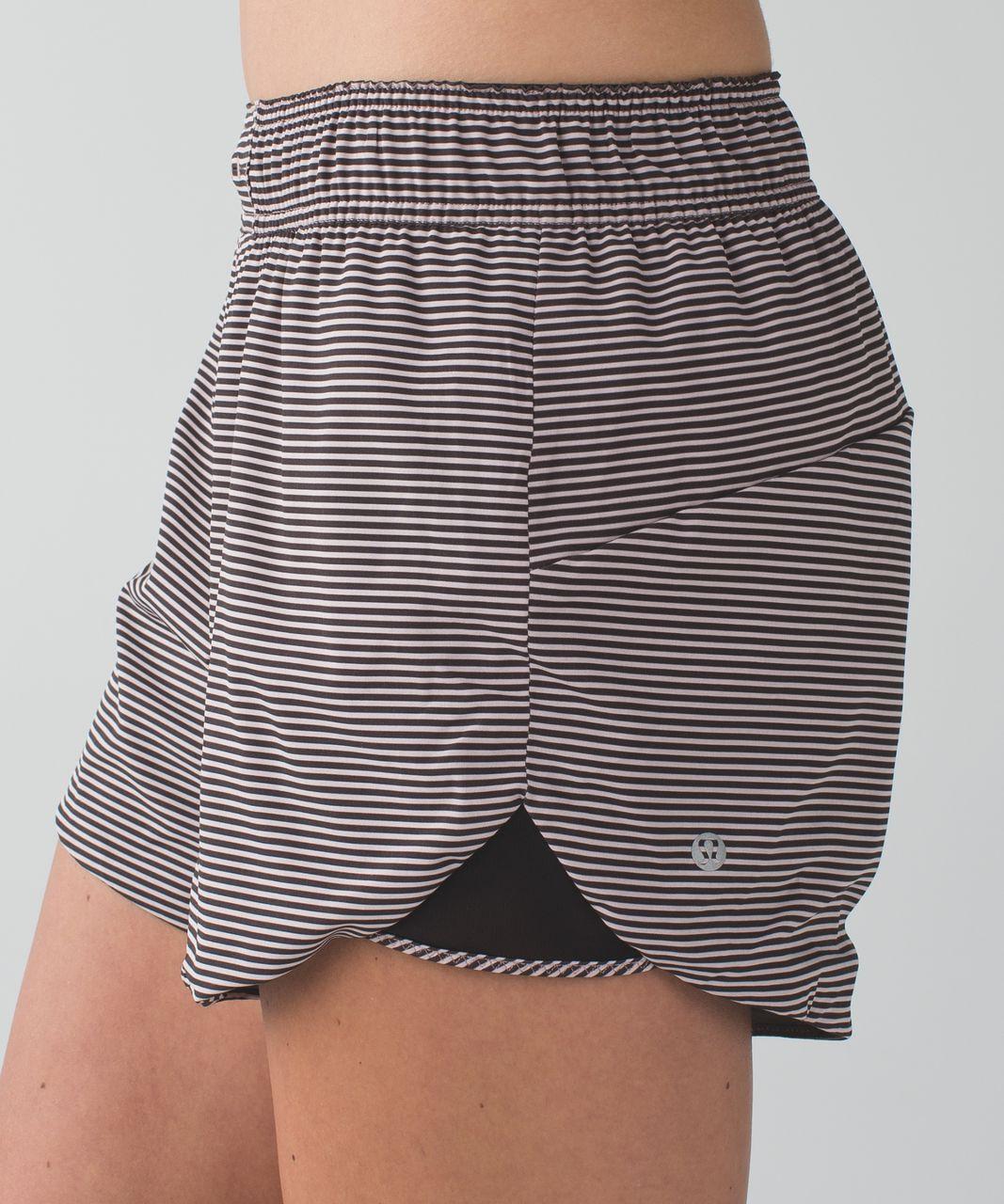 Lululemon Go The Distance Short - Mini Pop Stripe Printed Mink Berry Black / Heathered Slate