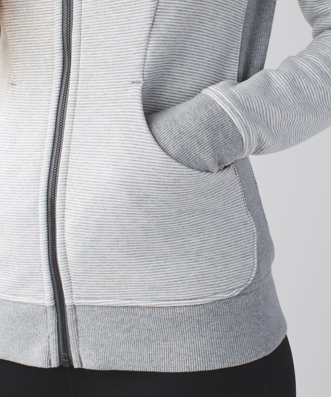 Lululemon Scuba Hoodie III (First Release) - Wee Stripe White Heathered Medium Grey / Heathered Medium Grey