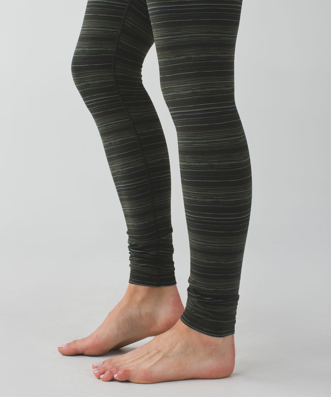 Lululemon Wunder Under Pant III - Cyber Stripe Gator Green Black