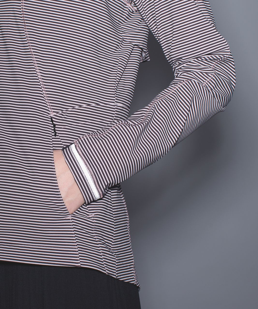 Lululemon Go The Distance Jacket - Mini Pop Stripe Printed Mink Berry Black